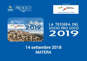 """PRO LOCO: TESSERA DEL SOCIO DEDICATA A """"MATERA 2019"""", VENERDI' LA PRESENTAZIONE"""